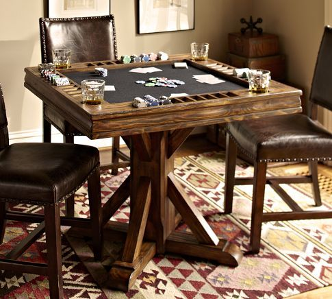 Card table pottery barn basement ideas pinterest for Dining room game table