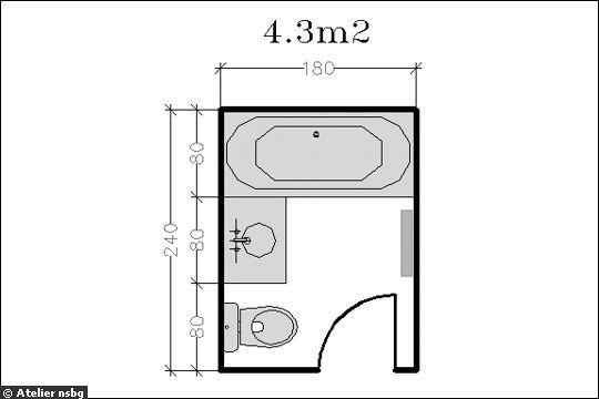 Surface de 4,3 m2 : le plan d'une petite salle de bains pour deux