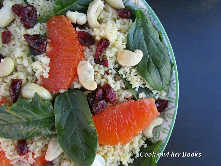 Cashew Cranberry Orange and Spinach Couscous Salad - facebook.com/cookandherbooks/