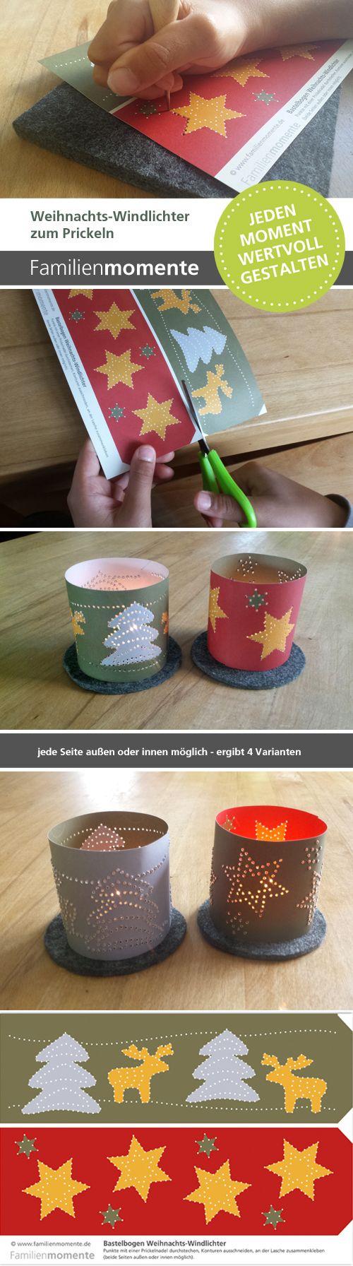 Weihnachts-Windlichter zum Prickeln - eine schöne Deko für die Weihnachtszeit. Bastelbogen vorne mehrfarbig, hinten einfarbig - ergibt 4 verschiedene Windlichter.
