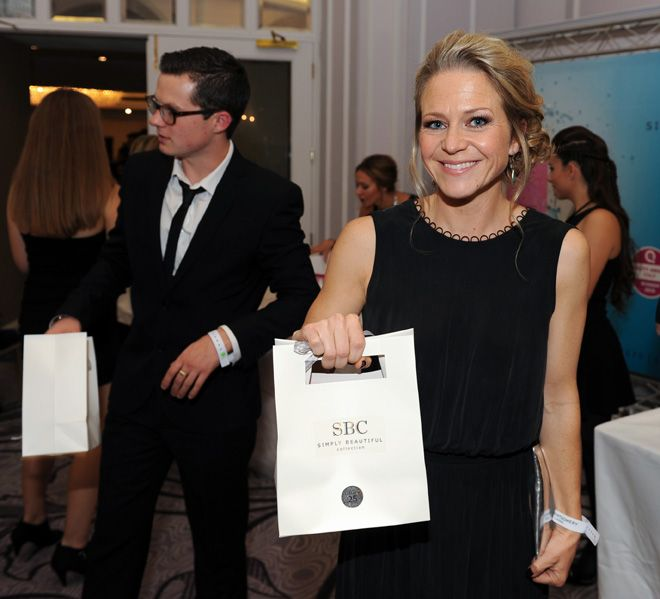 Kellie Bright looks delighted with her SBC goody bag!