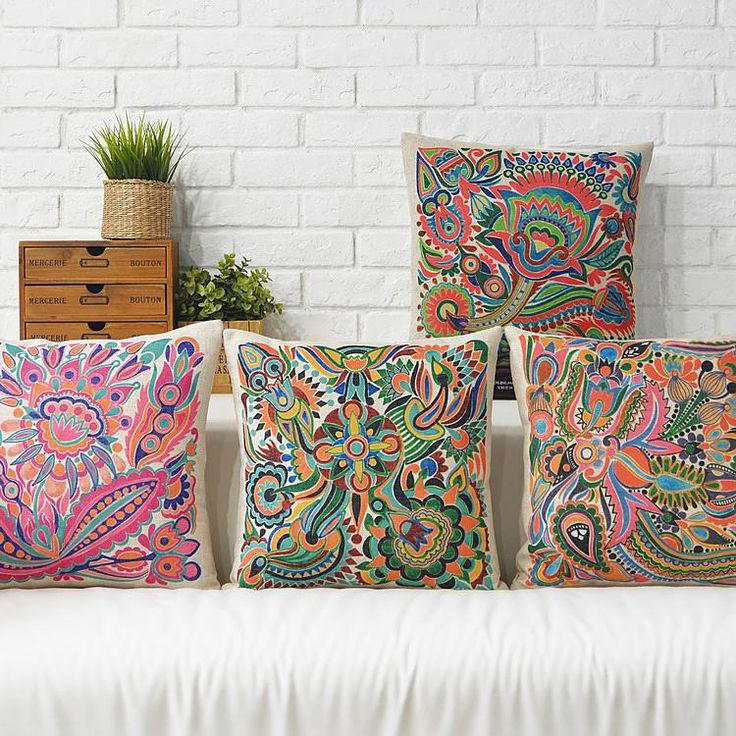South East Asia Ethnic Style Totem Pink Flower Paisley Pattern Cushion  Cover Home Car Decorative Throw Pillow Case. Outdoor Cushions ClearanceSunbrella  ...