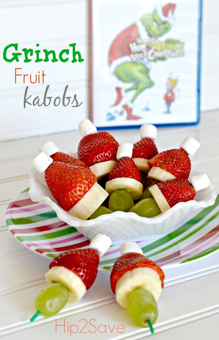 Grinch Christmas fruit kabobs~ Hip2Save | Not Your Grandma's Coupon Site