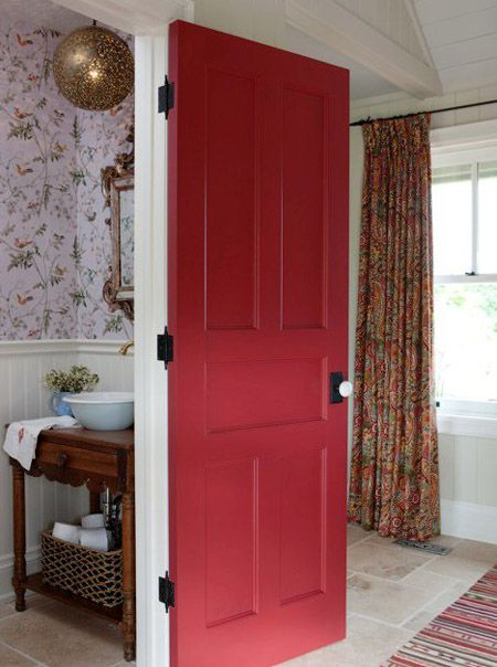 Sarah Richardson's Farmhouse- wall paper, vanity and sink, mirror, door hardware, flooring, rug