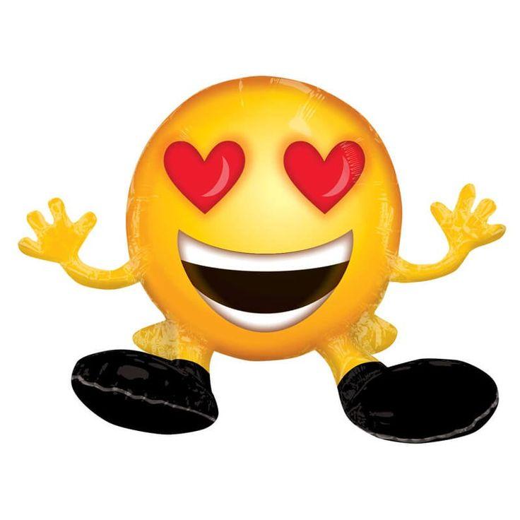 Pour vos soirées, ce ballon gonflé à l'air emojien position assise fera sensation auprès de vos invités. Vos amis ne pourront pas résister à sa jolie tête jaune et ronde aux yeux en forme de coeurs !