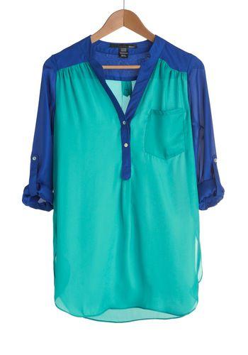 love the different colors: Colors Combos, Blouses, Dreams Closet, Colorblock, Sheer Tops, Blue Shirts, Colors Blocks, Baseball Tees, Tunics
