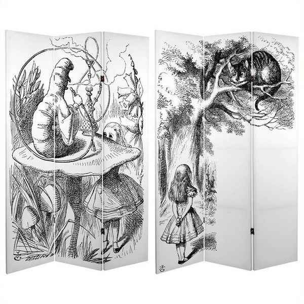 Oriental Furniture 6' Tall Double Sided Alice ($129) ❤ liked on Polyvore featuring home, home decor, black home decor, british home decor, window screens, black sculpture and asian sculptures