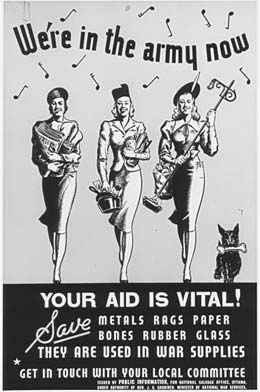 Canadian WWII poster, We're in the army now and your aid is vital!