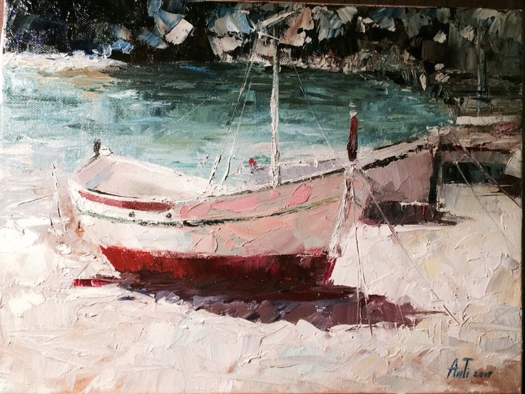 #boat on the beach #oil #canvas