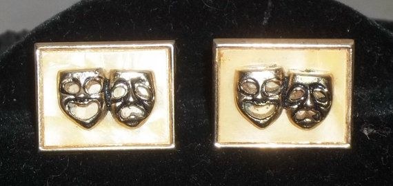 Vintage Swank Comedy Tragedy Theater Masks Cuff Links Cufflinks Gold Tone by ShonnasVintage, $32.99