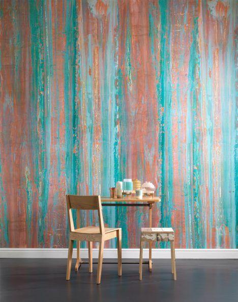 Turquoise & copper   home decor, wallpaper   Piet Hein Eek designs oxidised copper wallpaper for NLXL Lab