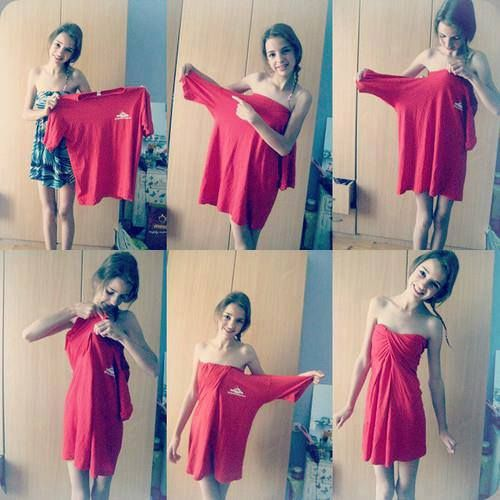 DIY dress out of big tshirt!! :)