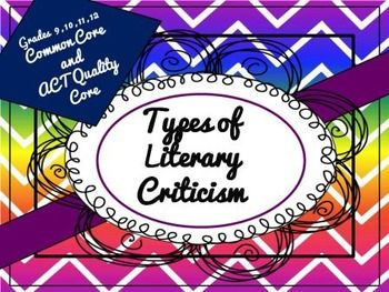 Literary Criticism - Critiquing Literature and the Arts PowerPoint. High School.