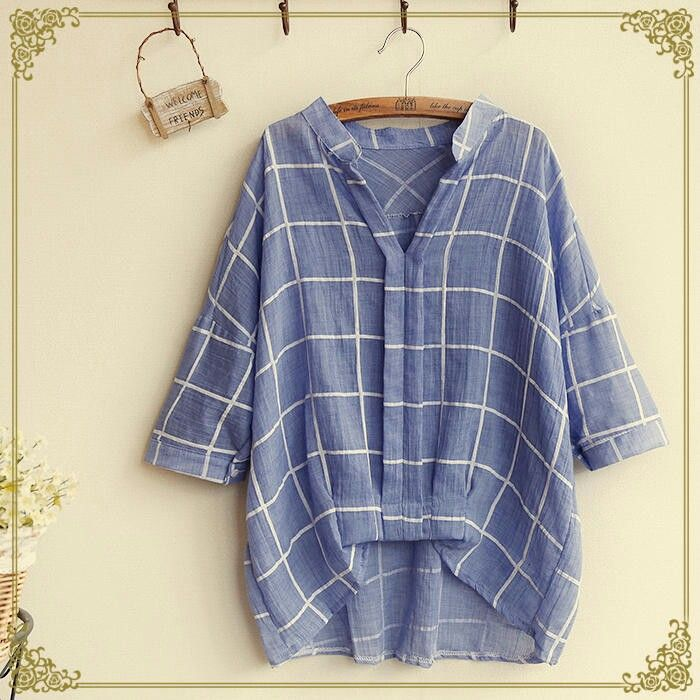 Oversized blue printed blouse
