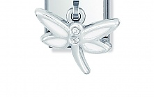 Nomination Stainless Steel and Sterling Silver Dragonfly with Cubic Zirconia and Enamel Charm