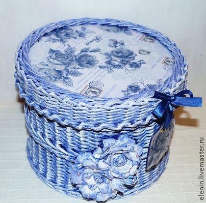 Плетеная шкатулка Fleurs - васильковый,белый,подарок,плетение,плетение из бумаги