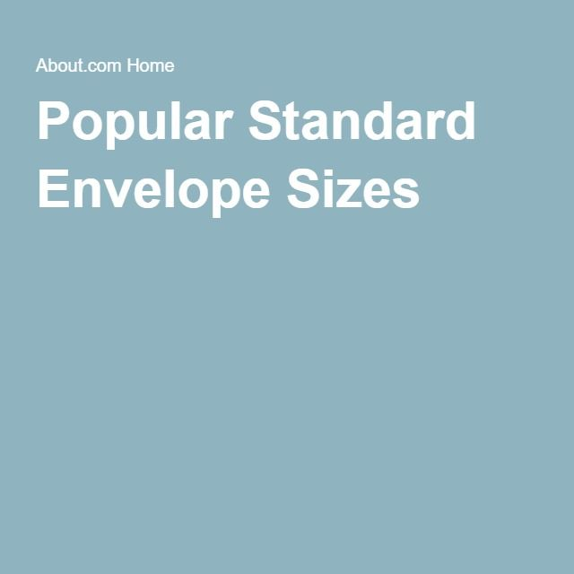 Popular Standard Envelope Sizes