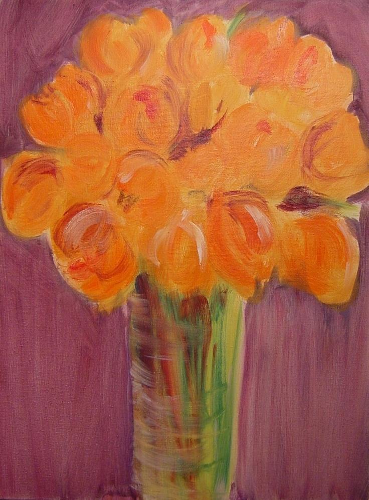 orange tulips in vase by Liliane