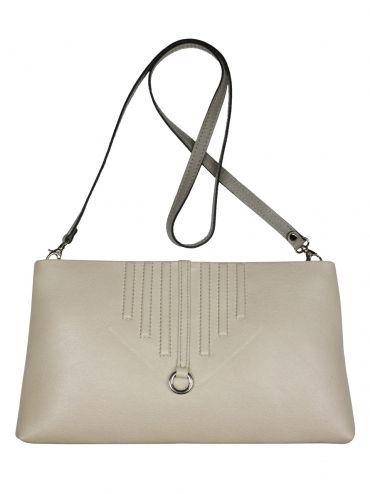 An extremely elegant leather clutch bag with shoulder belt. The bag is two-colored. Front pouch is light beige in color while the back is gray. From the inside it is decorated with quilted lining in silver. The whole suspended on a long leather belt. Each original handbag GOSHICO id is in the middle of the tab with our logo. PRICE: 720 zł http://goshico.com/en/duplicate-1-duplicate-1-1138.html