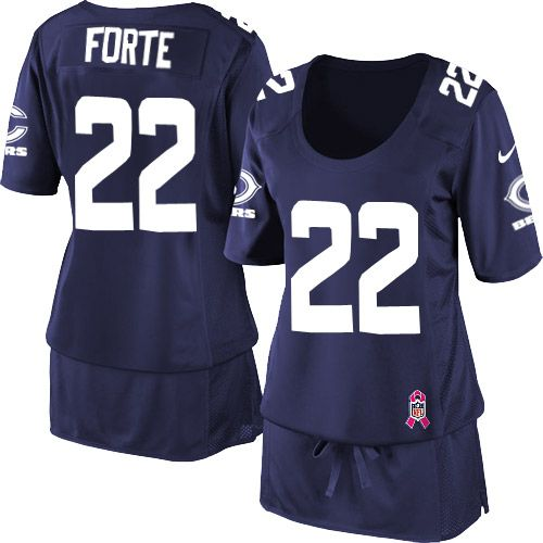 $109.99 Women's Nike Chicago Bears #22 Matt Forte Elite Breast Cancer Awareness Navy Blue Jersey