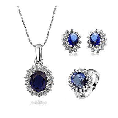 Набор ювелирных украшений с хрусталем и крупным синим камнем (ожерелье, кольцо и серьги) – USD $ 19.49