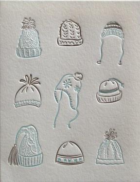 """Fun """"Winter Hats"""" letterpress card from Elum."""