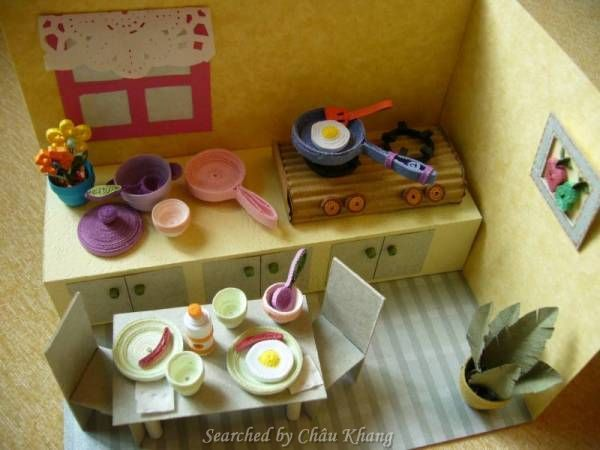 39 best 3d quilling about kitchenware images on pinterest for Quilling kitchen set