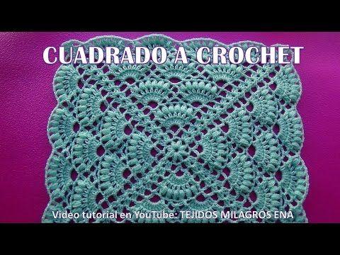 CUADRADO A CROCHET PASO A PASO en punto abanicos para colchas y cojines en video tutorial - YouTube