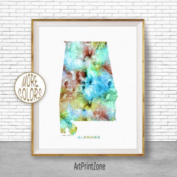 Alabama Print Alabama Map Art Print Alabama Art Print Alabama Decor Map Artwork Map Print Map Poster Watercolor Map ArtPrintZone #AlabamaPrint #WatercolorWallArt #WatercolorMap #AlabamaArtPrint #AlabamaDecor