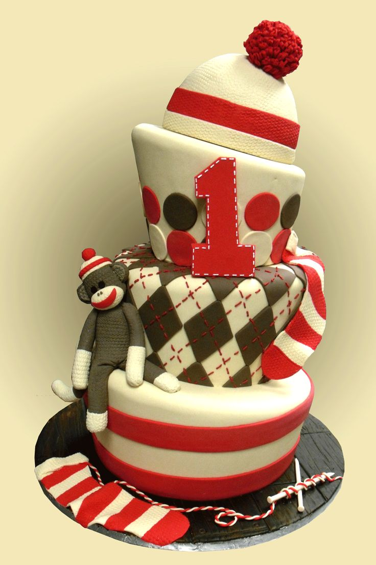 Sock Monkey Cake: Sock Monkeys, Cakes Ideas, Monkeycak, Sock Monkey Cakes, 1St Birthday, Parties Ideas, Baby, Socks Monkey Cakes, Birthday Cakes