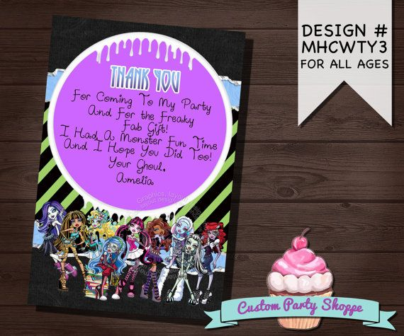 34 best monster high birthday party printable invitations and decor monster high birthday thank you card custom by custompartyshoppe 600 bookmarktalkfo Gallery