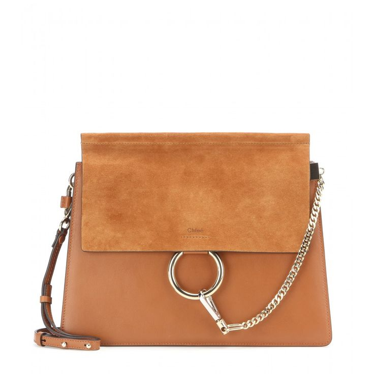 Chloé - Faye suede shoulder bag - Chloé's 'Faye' bag is timeless and elegant. In caramel-coloured leather, it features a suede flap to the front and is accented with a gold and silver-toned loop and chain detail. Go hands-free by wearing it cross-body, keeping all your essentials organised in the separate internal compartments. seen @ www.mytheresa.com