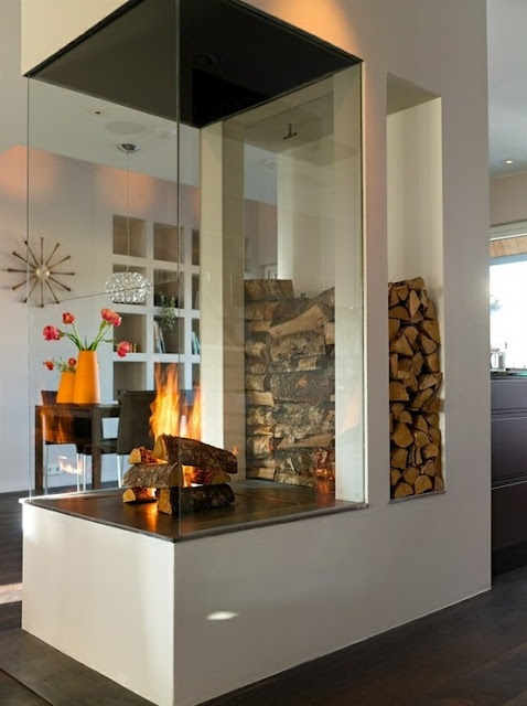 Sexy fireplace in the center of the room