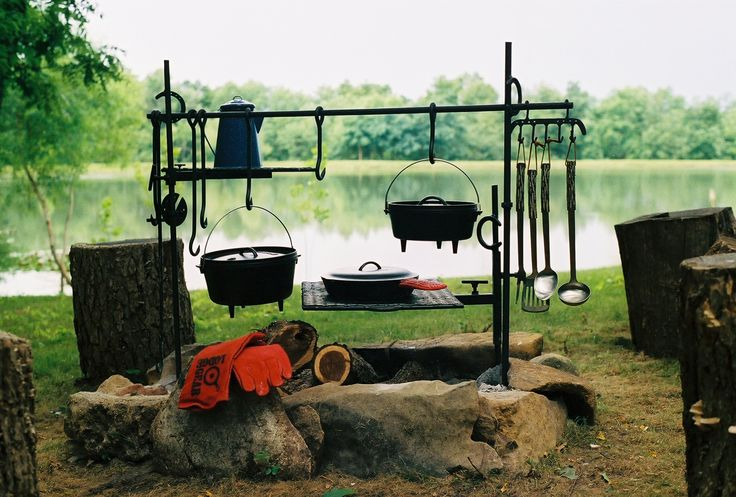 Cast Iron Cooking ... An amazing camp kitchen setup!