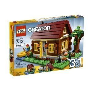 Toy-Game-Amazing-LEGO-Creator-Log-Cabin-5766-Removable-Unique-Dark-Red-Roof-And-Hinging-Wall-Section-by-4KIDS-0