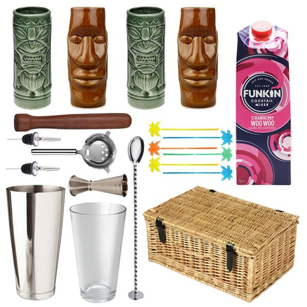 <strong>Totally Tiki Gift Hamper</strong> - Totally Tiki Gift Set Hamper is the ideal gift which will surely impress the recipient of the gift.A truly topical gift for the adventurous cocktail lover in your life. Enjoy 2 traditional Easter Islander ceramic Tiki glasses and 2 mean green tiki gasses, a bottle of fruity and exotic Strawberry Woo Woo, tropical palm stirrers to decorate your cocktails a Love Tiki Cocktail set so you're recipient is all set to mix up a tropical storm!