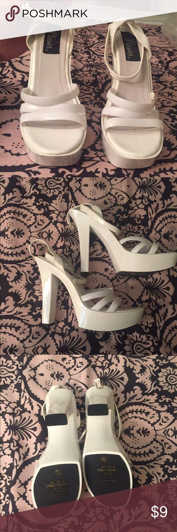 NEW Pleaser White Strappy Sandals These shoes are brand new but with a small defect (please see last pic). Size 10 but probably best for a 9 or 9.5. Make me an offer 😬 pleaser Shoes Heels