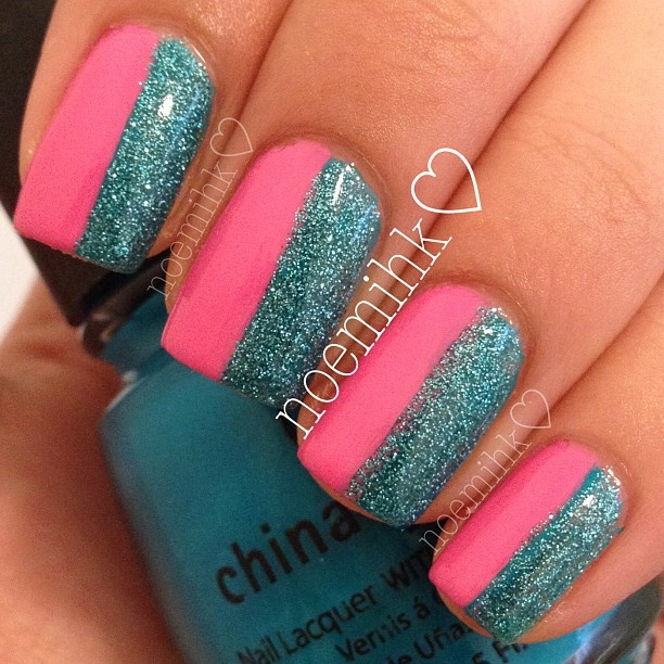 blue sparkle and pink half and half - Best 10+ Pink Blue Nails Ideas On Pinterest Glitter Nails