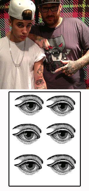 Justin Bieber Eye tattoos temporaires