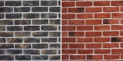 Cihelné pásky Nevada a Granada jsou subtilnější než tradiční cihla a prodávají se v různých odstínech. Při použití v koupelnách a kuchyních se upravují hydrofobním nástřikem, jinde v interiéru je zpravidla stačí vyluxovat, jinak jsou bezúdržbové. Pásky o rozměrech 21 x 6 x 1–1,5 cm stojí 593 Kč/m2; Wild stone