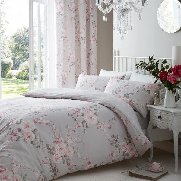 Canterbury Grey & Pink Floral duvet cover. Stunning bedding for girls by Catherine Lansfield. Comes in single & double sizes.