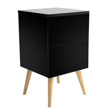 Emmas Retro Bedside Table - Black