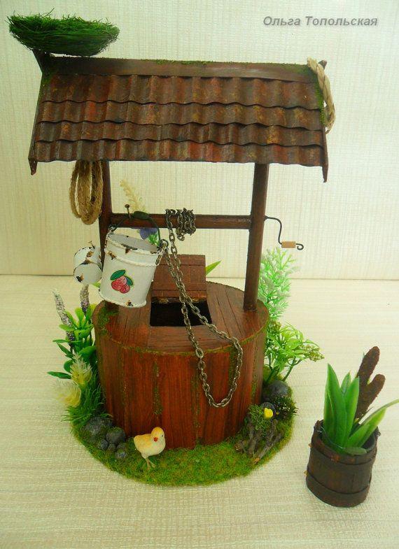 Well. Miniature  for garden Dollhouse от OlgaDollhouseArt на Etsy