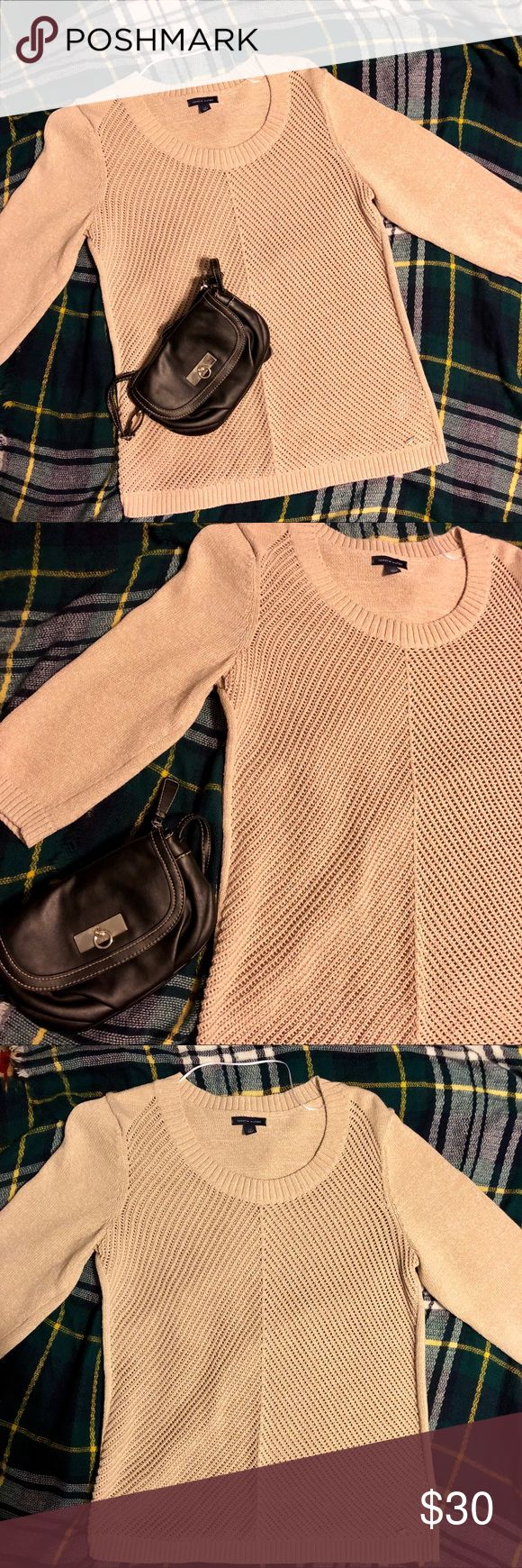 EUC Tommy Hilfiger 3/4 Sleeve Sweater Condition: EXCELLENT (only worn once!) 😱 Imperfections: None ✨ Size: Large 💝 Color: Cream/Beige/Oatmeal 🍾 Sleeve Length: 3/4 Absolutely no rips or stains. Purchased directly from a Tommy Outlet Store (so it's totally legit) and is awesome for any look. I love it, but bought the wrong size 🤷🏼♀️ Feel free to make an offer! ☺️ Tommy Hilfiger Sweaters Crew & Scoop Necks