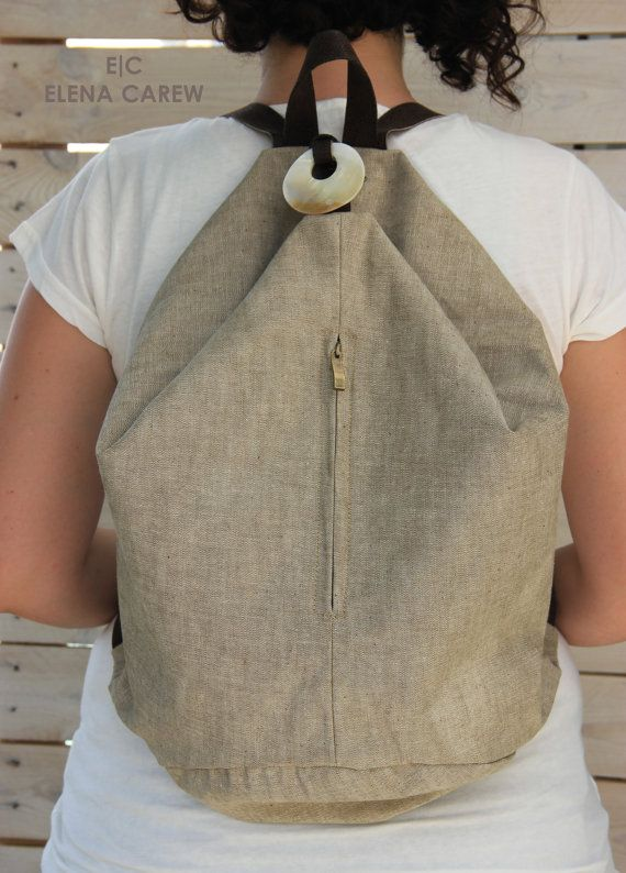 Canvas Rucksack, Beige bag, Bohemian backpack, Weekend bag cancas backpack, Waxed canvas backpack