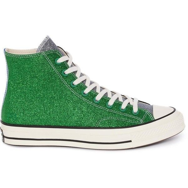 089777f1cdb8 WOMENS BLACK GREEN GLITTER CHUCK TAYLOR CONVERSE ❤ liked on Polyvore  featuring shoes