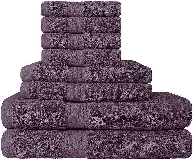 8 Piece Plum Purple Towel Set Bathroom Utopia Towels New Free Shipping #Utopia