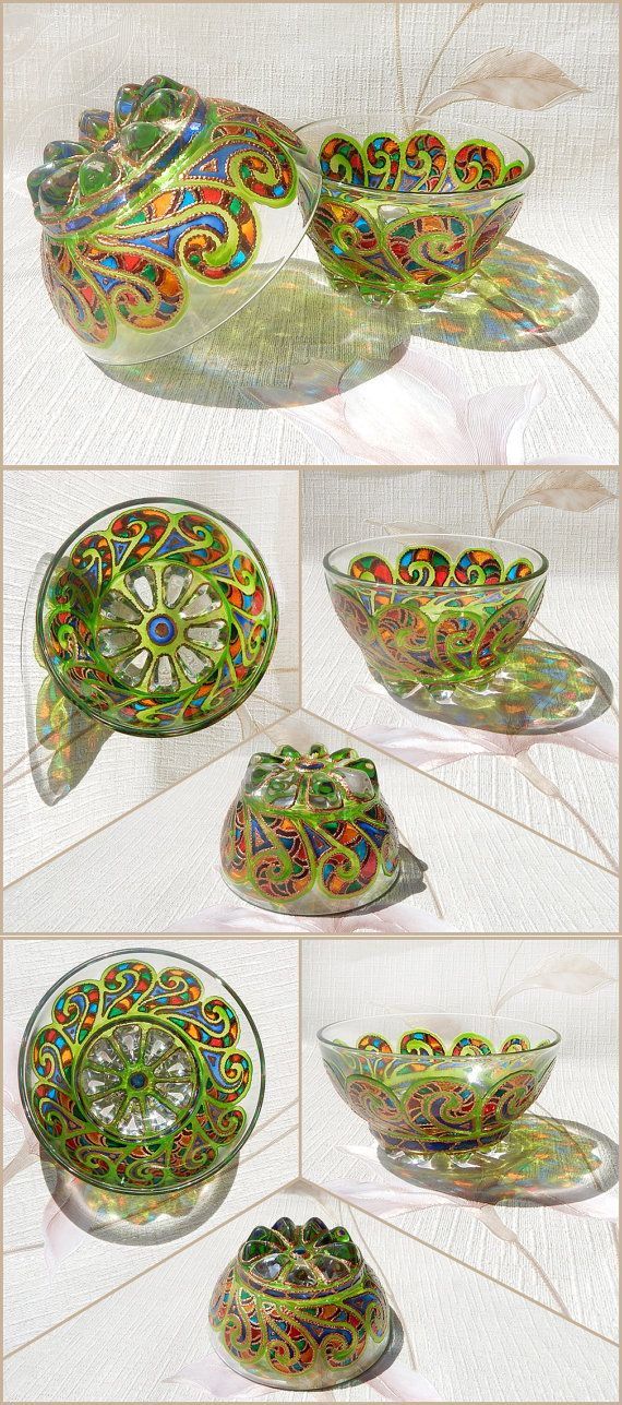 RichanaDragon ||| Andes. Glass salad bowls (candle holders) with green curling pattern and rainbow colors ornament. Hand painted stained glass. | Coupon code RICHPINTEREST (10% off)