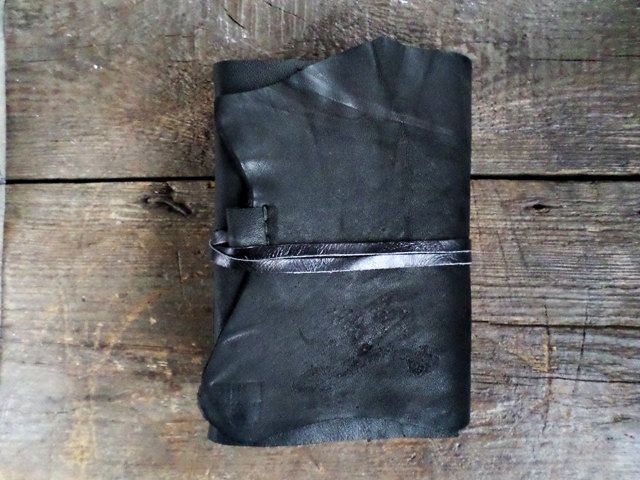 Black Soft Leather  Journal  fresh water pearl coffee stained paper Ready to Ship by ArtNotebooks on Etsy
