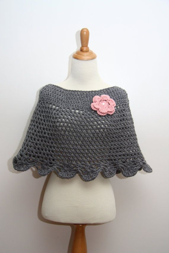 Hand Crocheted Poncho / Shawl in Heather Grey with Rose Pink Flower Brooch